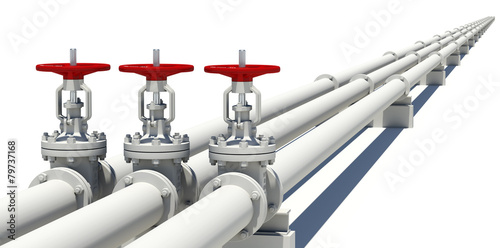 Three highly detailed valves and pipes - 79737168