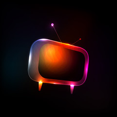 Abstract Neon Light Tv vector, easy editable