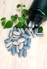 Herbal Supplement vitamin pills or tablets on wooden plate