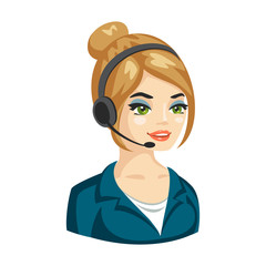 Vector illustration of cute woman working as telephone operator