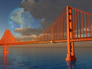 Golden Gate Bridge with terraformed luna above