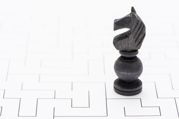 Chess piece in labyrinth