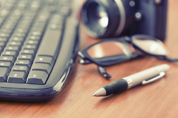 Office desktop and retro camera
