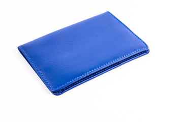 Blue leather wallet on white background
