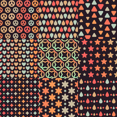 Big set of 9 different combining brown retro seamless patterns