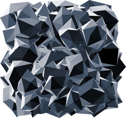 pointed black crystal abstract shape on white