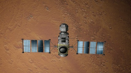 Satellite flying around Mars