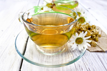 Tea chamomile in cup on light board