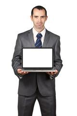 Business man show his laptop screen