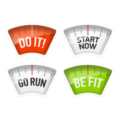Bathroom scales with Do It, Start Now, Go Run, Be Fit messages