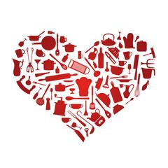 Liebe zum Kochen - Sillhouetten Herz aus Kochzubehör Rot