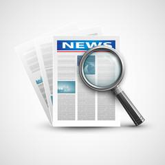 Magnifier and newspaper. Vector illustration