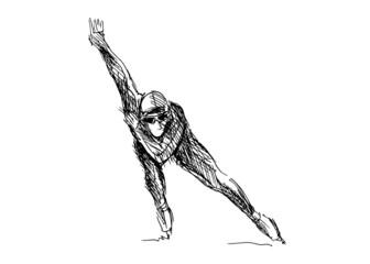 Hand drawing skater. Vector illustration