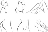 Set of stylized body parts