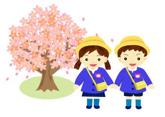 入園 桜と園児
