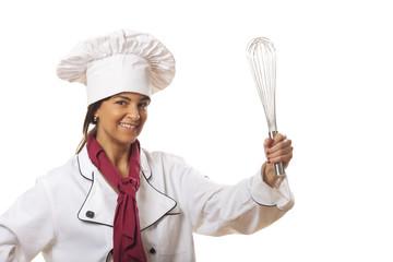 glücklich Kochen mit einem Schneebesen