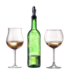 White wine in bottle and two glass. Isolated on white dispenser