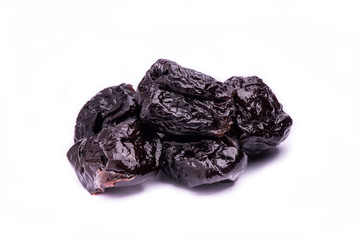 dried prunes fruit isolated on white background