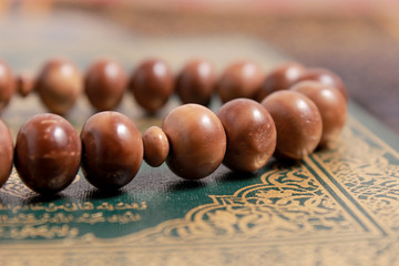 close up of wood tasbih