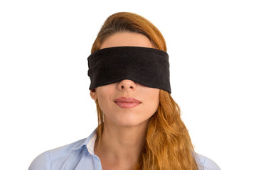 Portrait young woman blindfolded isolated white background