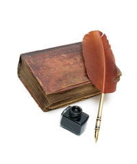 old religious book, inkwell and pen on a white background