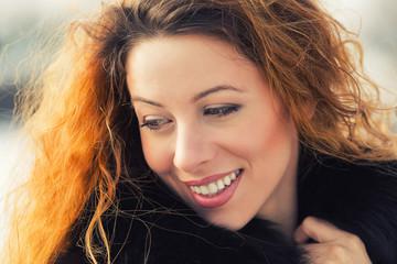 headshot portrait happy Beautiful Young Woman Outdoors