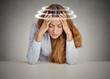 Leinwanddruck Bild - Woman with vertigo. Young patient suffering from dizziness