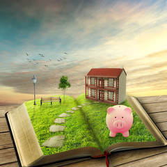 Home savings financial concept. Piggy bank magic book house