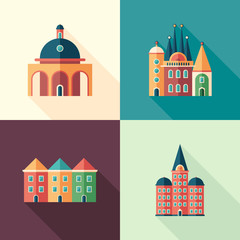 Set of colorful buildings flat square icons with long shadows.