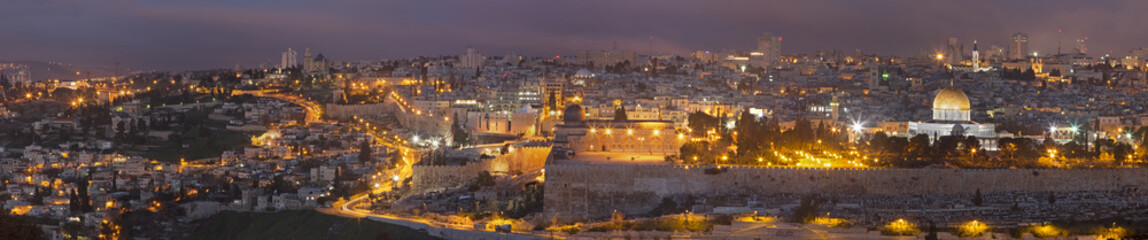 Jerusalem - The Panorama from Mount of Olives at dusk