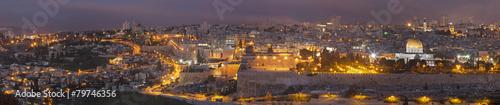 Fotobehang Midden Oosten Jerusalem - The Panorama from Mount of Olives at dusk