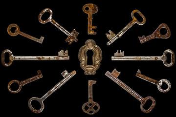 Set of old keys, isolated on black background