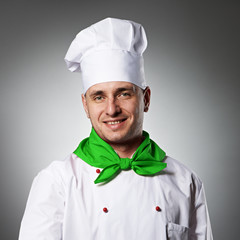 Male chef with thumb up portrait