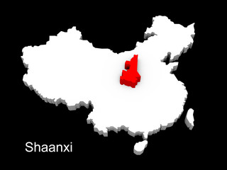 3d illustration province of china,focus on shaanxi