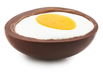 half of chocolate egg isolated on the white background