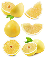 set of Pomelo or Chinese grapefruit isolated on the white backgr
