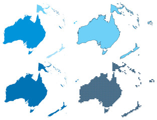 Oceania four different blue maps