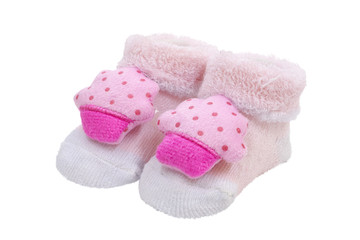 Pink baby socks, on white background