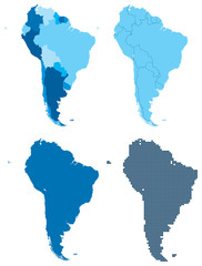 South America four different blue maps