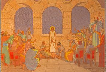 Jerusalem - judgment of Jesus before sanhedrin mosaic