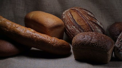 Different types of bread on sackcloth