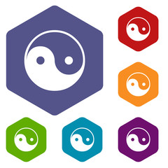 Yin Yang rhombus icons