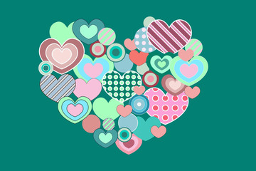 Heart of hearts on green background
