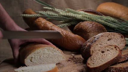 Cutting bakery products in bread store