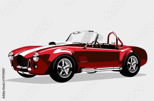 Fototapeta Classic sport red car AC Shelby Cobra Roadster