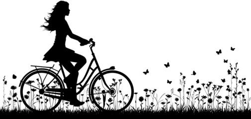 Fahrradfahrerin Vektor Hintergrund Silhouette