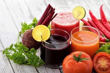 glasses with fresh vegetable juices
