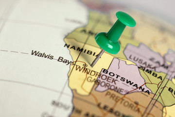 Location Namibia. Green pin on the map.