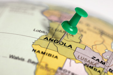 Location Angola. Green pin on the map.