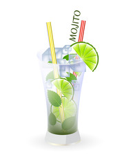 Glass of mojito and drinking strew on a white background